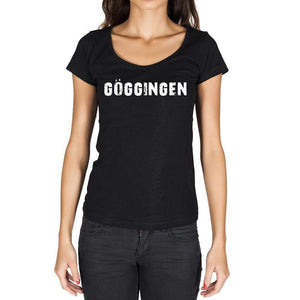 Göggingen German Cities Black Womens Short Sleeve Round Neck T-Shirt 00002 - Casual