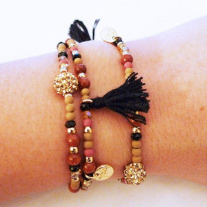 Gold Shamballa Colored Beads Black Tassel Bracelet One In The City
