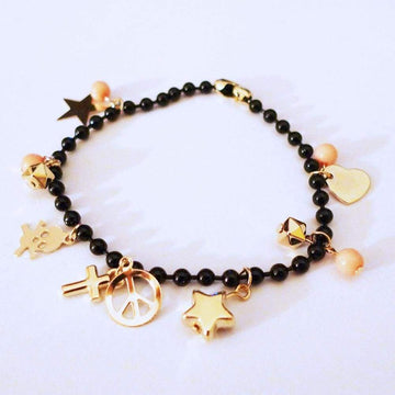 Gold Skull Crucifix Star Peace Black Beads Bracelet