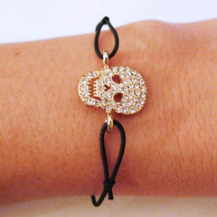Gold Skull Strass Black Bracelet