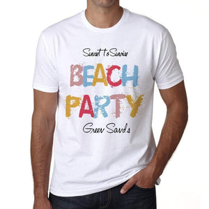 Green Sands Beach Party White Mens Short Sleeve Round Neck T-Shirt 00279 - White / S - Casual
