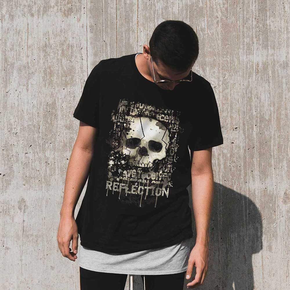 09867d92c06f40 Grunge Skull Reflection Mens Vintage Tee Shirt Graphic T shirt