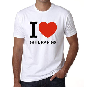 Guineapigs I Love Animals White Mens Short Sleeve Round Neck T-Shirt 00064 - White / S - Casual