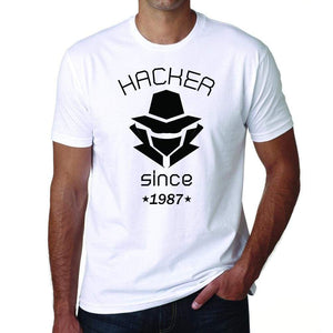 Hacker 1987 Mens Short Sleeve Round Neck T-Shirt 00087 - White / S - Casual