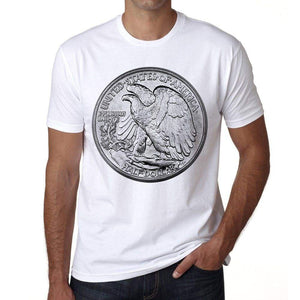 Half Dollar Usa Mens Short Sleeve Round Neck T-Shirt