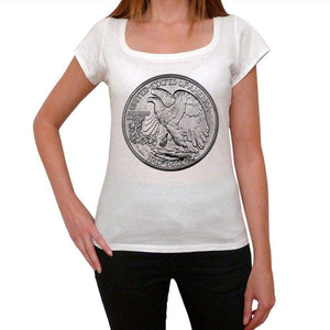 Half Dollar Usa Womens Short Sleeve Round Neck T-Shirt 00111
