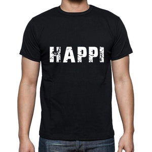 Happi Mens Short Sleeve Round Neck T-Shirt 5 Letters Black Word 00006 - Casual