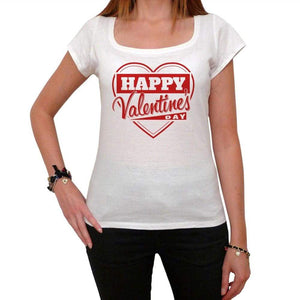 Happy Valentines Day Heart Tshirt White Womens T-Shirt 00157