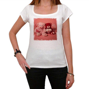 Happy Valentines Day Teddy Bears Tshirt White Womens T-Shirt 00157