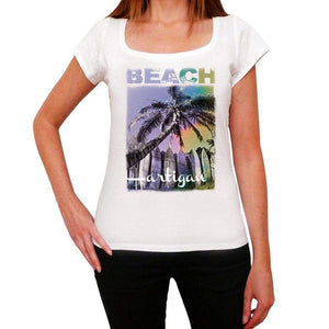 Hartigan Beach Name Palm White Womens Short Sleeve Round Neck T-Shirt 00287 - White / Xs - Casual