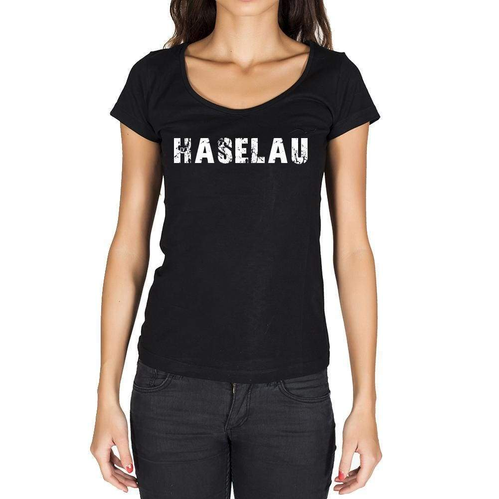Haselau German Cities Black Womens Short Sleeve Round Neck T-Shirt 00002 - Casual