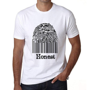 Honest Fingerprint White Mens Short Sleeve Round Neck T-Shirt Gift T-Shirt 00306 - White / S - Casual