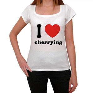 I Love Cherrying Womens Short Sleeve Round Neck T-Shirt 00037 - Casual