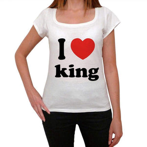 I Love King Womens Short Sleeve Round Neck T-Shirt 00037 - Casual