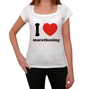 I Love Marathoning Womens Short Sleeve Round Neck T-Shirt 00037 - Casual