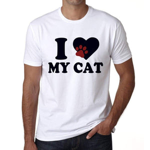 I Love My Cat Tshirt Mens Tee White 100% Cotton 00186