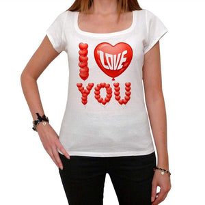 I Love You Balloons Tshirt White Womens T-Shirt 00157