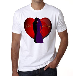 Je Taime Valentine Mens Tee White 100% Cotton 00156