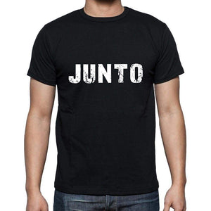 Junto Mens Short Sleeve Round Neck T-Shirt 5 Letters Black Word 00006 - Casual