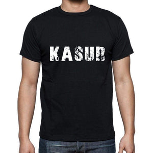 Kasur Mens Short Sleeve Round Neck T-Shirt 5 Letters Black Word 00006 - Casual