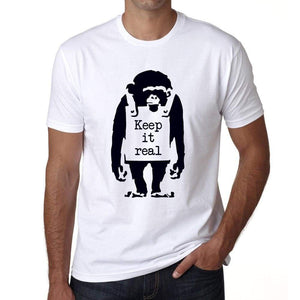 Keep It Real Chimp Mens Tee White 100% Cotton 00164