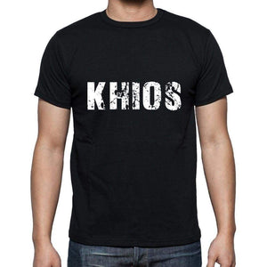 Khios Mens Short Sleeve Round Neck T-Shirt 5 Letters Black Word 00006 - Casual