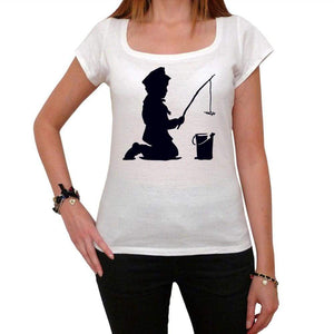 Kid Fishing Tshirt White Womens T-Shirt 00163