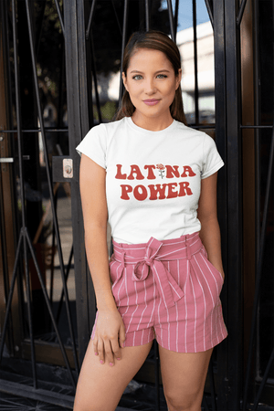 • ULTRABASIC - <span>Women's</span> Low-Cut <span>Round Neck</span> T-Shirt Latina Power 💕 <span>Printed</span> Letters <span>White</span>