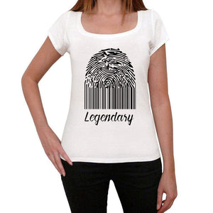 Legendary Fingerprint White Womens Short Sleeve Round Neck T-Shirt Gift T-Shirt 00304 - White / Xs - Casual