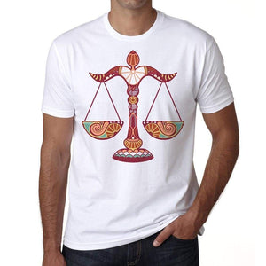 Libra Zodiac Sign Mens White Tee 100% Cotton 00213