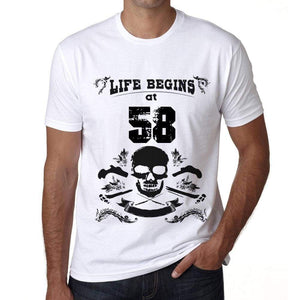 Life Begins At 58 Mens T-Shirt White Birthday Gift 00448 - White / Xs - Casual
