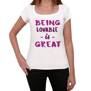 Lovable Being Great White Womens Short Sleeve Round Neck T-Shirt Gift T-Shirt 00323 - White / Xs - Casual