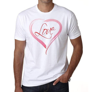 Love In Heart Mens Tee White 100% Cotton 00156