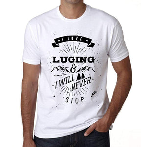 Luging I Love Extreme Sport White Mens Short Sleeve Round Neck T-Shirt 00290 - White / S - Casual