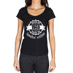 Made In 1960 Limited Edition Womens T-Shirt Black Birthday Gift 00426 - Black / Xs - Casual
