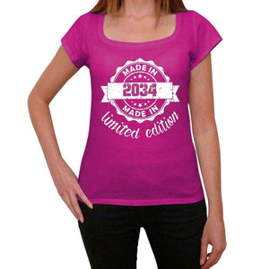 Made In 2034 Limited Edition Womens T-Shirt Pink Birthday Gift 00427 - Pink / Xs - Casual
