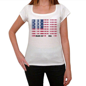 Made In Usa Bar Code Womens Short Sleeve Round Neck T-Shirt 00111