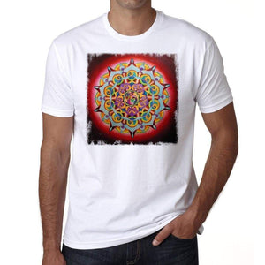 Mandala 1 H Mens White Tee 100% Cotton 00175