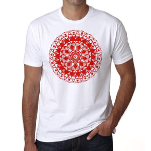 Mandala 11 H Mens White Tee 100% Cotton 00175