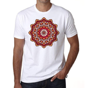 Mandala 12 H Mens White Tee 100% Cotton 00175