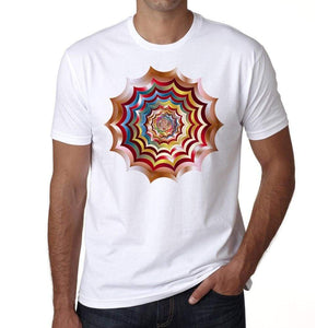 Mandala 13 H Spider Web Hypnotic Mens White Tee 100% Cotton 00175