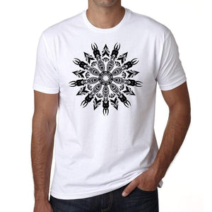 Mandala 15 H Mens White Tee 100% Cotton 00175