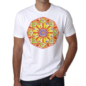 Mandala 17 H Mens White Tee 100% Cotton 00175