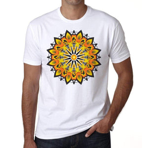 Mandala 19 H Mens White Tee 100% Cotton 00175