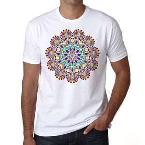 Mandala 22 H Mens White Tee 100% Cotton 00175