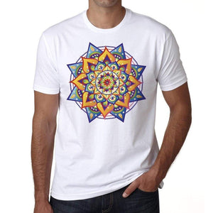Mandala 26 H Mens White Tee 100% Cotton 00175