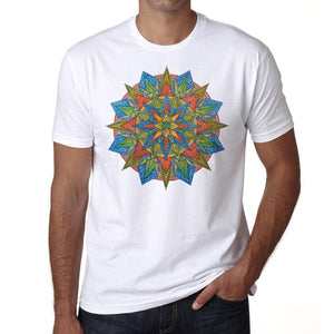 Mandala 8 H Mens White Tee 100% Cotton 00175