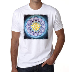 Mandala 9 H Mens White Tee 100% Cotton 00175