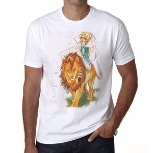 Manga Girl On A Lion T-Shirt For Men T Shirt Gift 00089 - T-Shirt