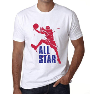 Mens Graphic T-Shirt All Star Basketball Player White - White / Xs / Cotton - T-Shirt